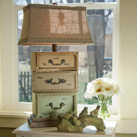 Repurpose an old drawer into a lamp
