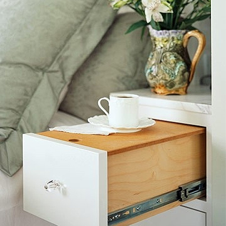 Repurpose an old drawer into a bedside coffee tray table