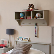 Storage shelf for boy's bedroom