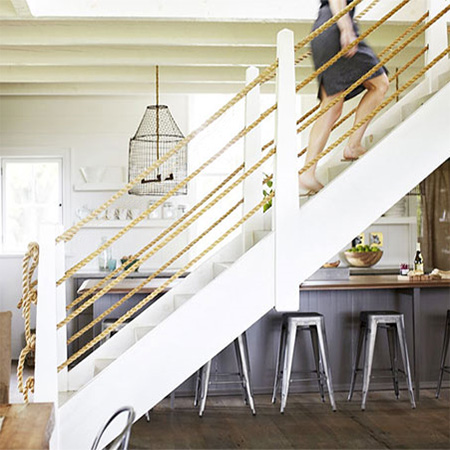 Home Dzine Home Decor Adding A Rope Bannister To Staircase