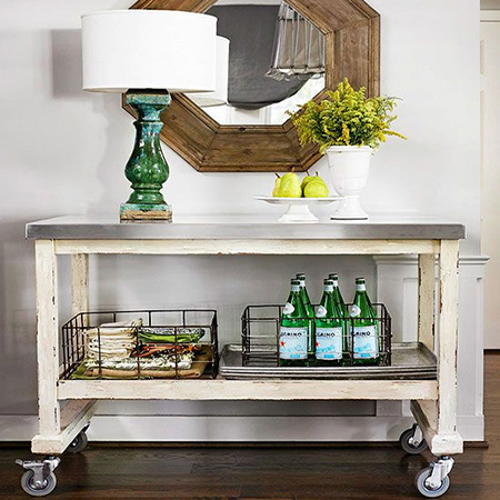 vintage industrial trolley drink cart mobile bar