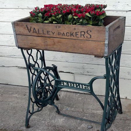 singer sewing machine stand repurposed reclaimed recycled