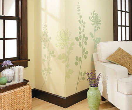 HOME DZINE Craft Ideas | Add floral stencil design to plain wall