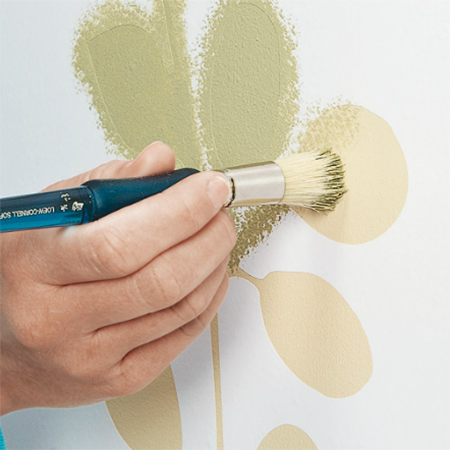 HOME DZINE Craft Ideas | Add floral stencil design to plain wall