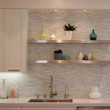 Tiled Floating Shelves Kitchen