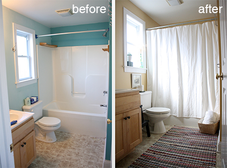 Bathroom Makeover Renovate Ideas Before And After Cover Up Vinyl Flooring Or Ugly Tiles