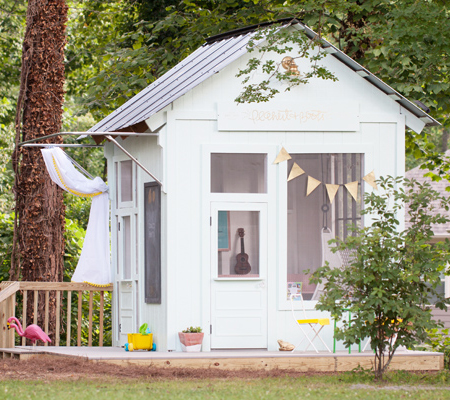 turn old hut into childrens outdoor playhouse