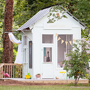 Old garden shed becomes children's playhouse