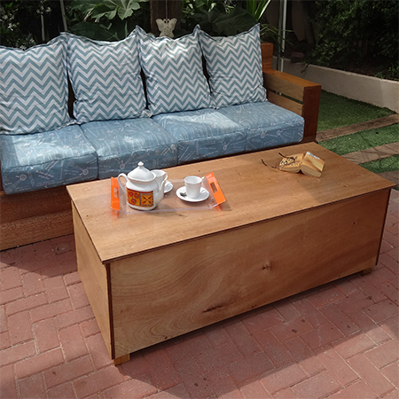Home dzine garden outdoor storage coffee table for Plywood coffee table diy