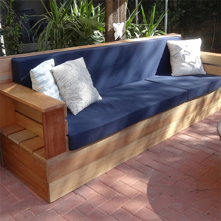 Diy Modern Outdoor Patio Sofa With Bull Denim Cushion Covers