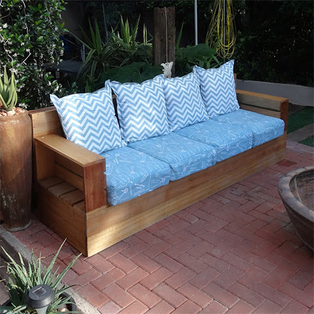 Buy online: The outdoor sofa can be finished in your choice of teak or imbuia stain, left raw and / or sealed with exterior sealer.