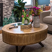 Tree stump turned into a stylish coffee table