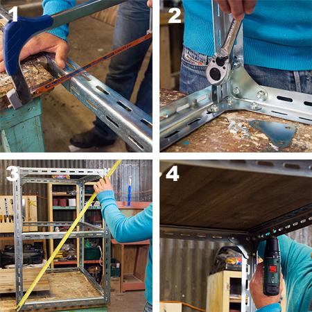 DIY mobile kitchen island or workstation steel shelving components