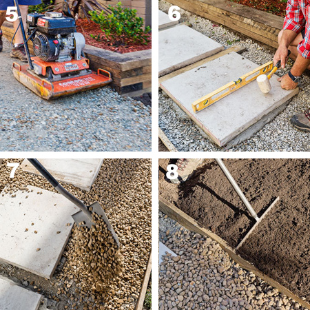 Home dzine garden design a decorative side path - How to lay pebbles in garden ...