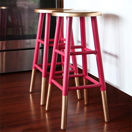 Home Dzine Craft Ideas Gold Dipped Bar Stools