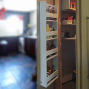 Storage shelf for pantry or kitchen door