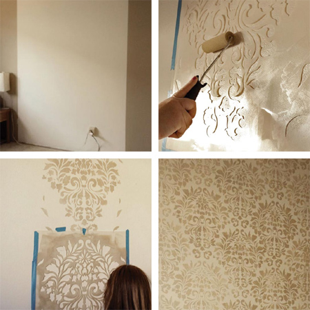 Home dzine metallic or pearl stencil design on walls for How to make metallic paint