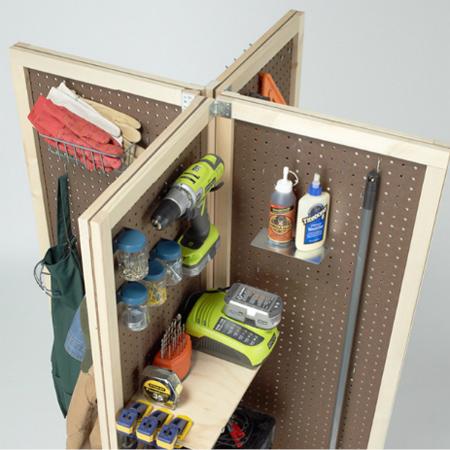 Home dzine home diy mobile pegboard storage unit for Diy pegboard craft organizer