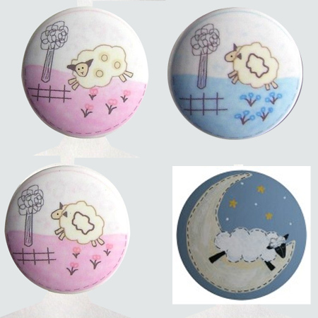 Decorate a gender-neutral nursery with a lamb or sheep theme, pine knobs lamb or sheep designs