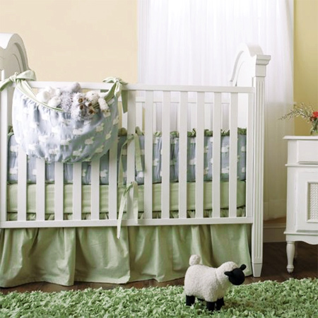 Decorate a gender-neutral nursery with a lamb or sheep theme green