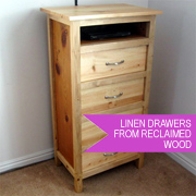 Reclaimed and recycled wood linen drawers