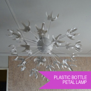 Reclaimed plastic bottle petal lamp
