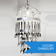 Re-purpose cutlery into vintage-style chandelier