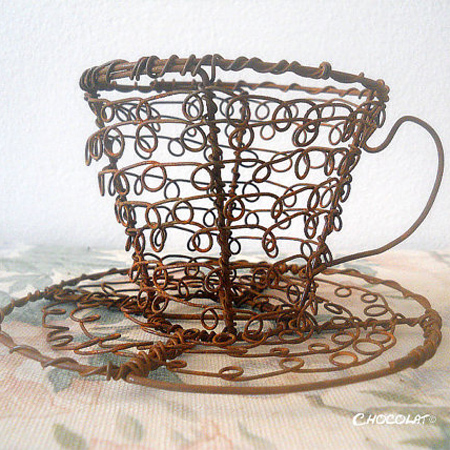 Crafty ideas to use wire for home decor projects teacup and saucer
