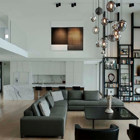 Double height ceiling lights