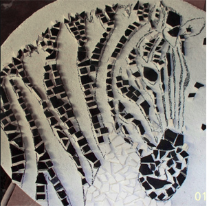Use leftover tiles to make a mosaic tabletop zebra mosaic design