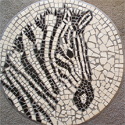 Mosaic zebra tabletop with leftover tiles