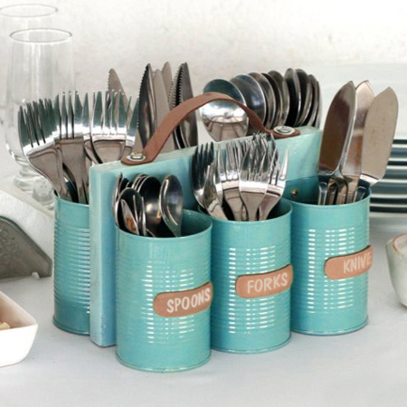 Home dzine craft ideas recycled can cutlery holder for Diy inventions household items