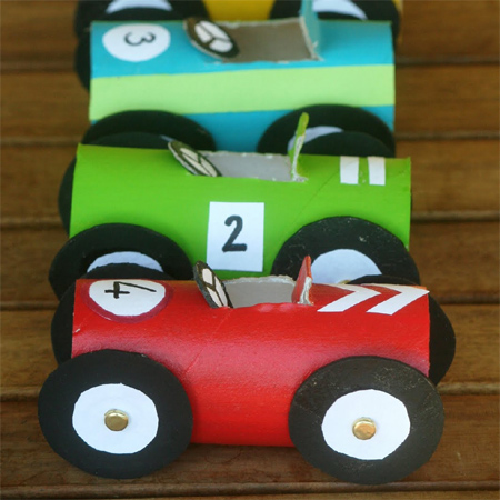 Home Dzine Craft Ideas Kids Crafts Toilet Roll Racing Cars