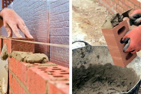 Basic bricklaying skills buttering brick bedding in mortar