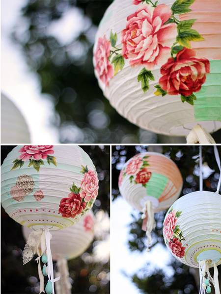 chinese paper lantern decoupage cut out fabric flowers
