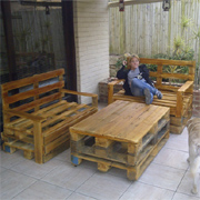Outdoor furniture from timber pallets