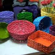 Colourful newspaper baskets