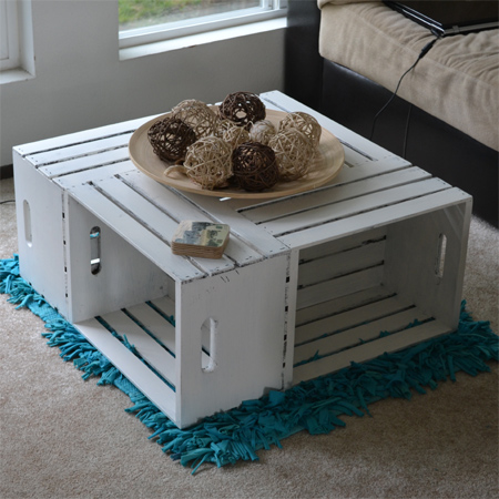 Make a coffee table using crates reclaimed wood recycled crate