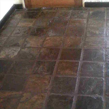 Clean and strip slate tiles built up layers of wax polish