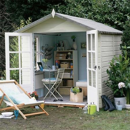Home dzine home office turn a garden shed into a home office for The yard space to work
