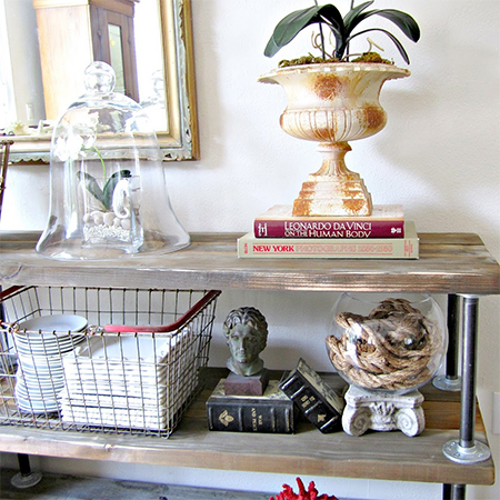 scaffolding plank reclaimed wood console display shelves