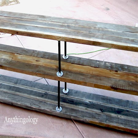 scaffolding plank reclaimed wood console table bench galvanised pipe