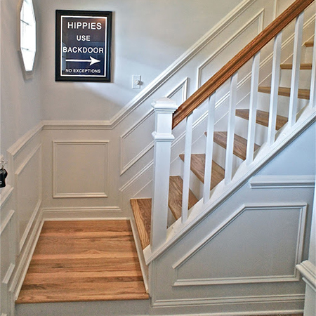 replace carpet stairs with wood cladding treads and risers