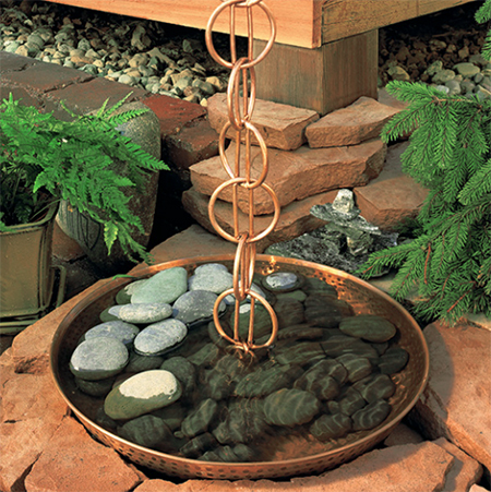 copper bowl garden rain chain decor