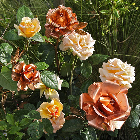 copper sheet garden plant stakes decor roses