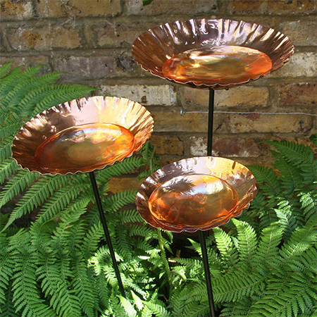copper sheet garden plant stakes decor water bowls