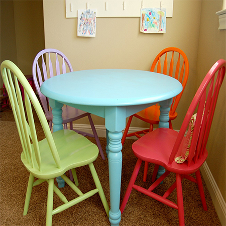 Paint dining table and chairs with Rust-Oleum calm colours