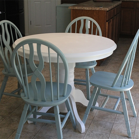 Paint dining table and chairs with Rust-Oleum white and pale blue