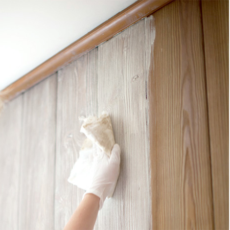 Home dzine how to whitewash knotty pine walls How to disguise wood paneling