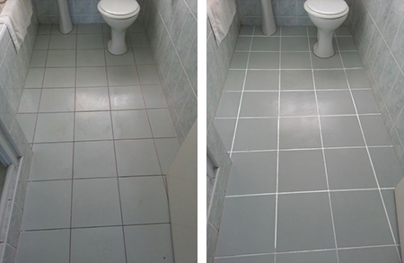 Home dzine bathrooms give grimy grout a facelift for Bathroom floors without grout